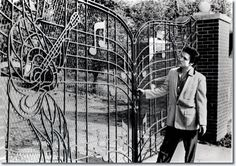 When Elvis Presley purchased Graceland in 1957, the music gates were not a part of the property. Designed for Elvis by Abe Saucer and custom by John Dillars, Jr., of Memphis Doors, Inc., the custom music gates were delivered and installed on April 22, 1957