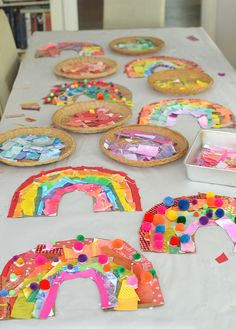 Kids make rainbows from cardboard and collage material. art projects for kids toddlers My 20 Best Arts & Crafts Birthday Party Ideas Preschool Crafts, Kids Crafts, Spring Craft Preschool, Arts And Crafts For Kids Toddlers, Process Art Preschool, Easy Toddler Crafts, Preschool Classroom, Rainbow Birthday Party, Art Birthday