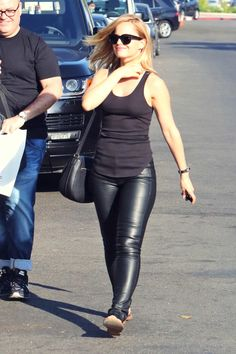 Mena Suvari out in West Hollywood #leatherpants #leatherskinnypants