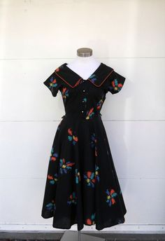 Vintage 1940s Rockabilly Day Dress/Black Print by rileybella123, $68.00