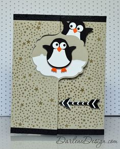A flip-it card with penguins using the owl punch. looks like Nov 14 Paper pumpkin stamp background used too Flip Cards, Folded Cards, Cute Cards, Holiday Cards, Christmas Cards, Christmas Fun, Owl Punch Cards, Tarjetas Diy, Swing Card