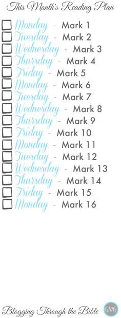 Bible Reading plan from Good Morning Girls and Women Living Well FREE Printables, Read Through the Bible, Bible Study, Women's Bible Study, Good Morning Guys, Book of Mark Bookmark @womenlivingwell