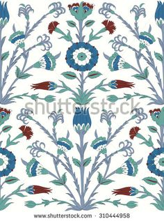 Традиционный арабский орнамент бесшовные.  Цветочный орнамент узор.  Iznik фона.Вектор.  Фон - Векторная иллюстрация