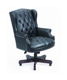@Overstock - Executive chair features classic traditional button tufted stylingOffice chair has an elegant Mahogany wood finishHand applied brass nails Pneumatic gas lift seat height adjustment Weight capacity is 250 lbshttp://www.overstock.com/Office-Supplies/Boss-Black-Traditional-High-Back-Executive-Chair/2201951/product.html?CID=214117 $268.14