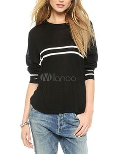 Black Pullover with Lennon Print & White Stripes - Save Up to 70% Off on fabulous fashion trend products at Milano with Coupon and Promo Codes.