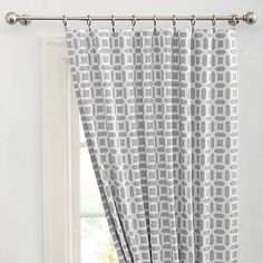 Peyton Blackout Drape | gray and white black out curtain from PB Teen