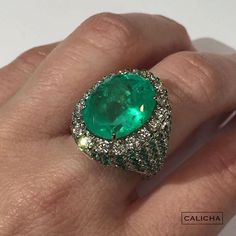 10.7 cts Colombian Emerald, 2.5 cts sise Colombian Emeralds and 1.7 cts of diamonds, set on white gold #calicha #loveaffairwithjewelry
