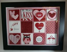 Valentine shadow box - The squares are 1 and the mats are 1 All the products are Stampin' Up! products except the verse. I printed that on the computer :) Halloween Shadow Box, Christmas Shadow Boxes, Valentine Crafts, Valentine Day Cards, Happy Valentines Day, Owl Card, Scrapbook Paper Crafts, Scrapbooking, Frame Crafts