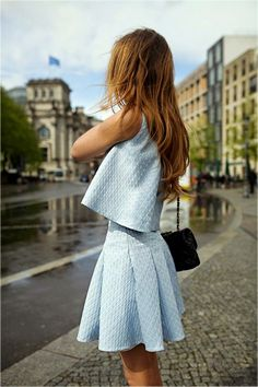 Two piece, light blue, adorable