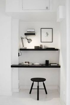 black and white home office, nook, shelves Home Interior, Interior Architecture, Color Interior, Interior Ideas, Interior Work, Studio Interior, Home Office Design, House Design, Office Designs