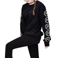6895ec54c95 Autumn Women O-Neck Sweatshirt Emoji Print Long Sleeves Clothing Pullover  Hoodies Topsmodkily Neck Pattern