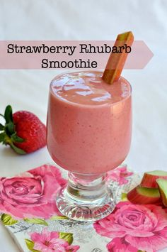 Celebrate Spring mornings with a naturally sweet healthy smoothie. Flavour and Savour Strawberry Rhubarb Smoothie. Celebrate Spring mornings with a naturally sweet healthy smoothie. Flavour and Savour Smoothie Drinks, Fruit Smoothies, Healthy Smoothies, Healthy Drinks, Smoothie Recipes, Morning Smoothies, Healthy Milk, Drink Recipes, Vegetable Smoothies