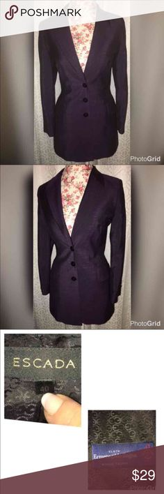"""NWOT ESCADA BLAZER LIKE NEW CONDITION SZ MED HUGE SALE!! THIS BLAZER IS IN BRAND NEW CONDITION!! MADE BY ESCADA WITH ERMENEGILDO ZEGNA!! MOHAIR WOOL TROPHYESCADA IS LOCATED IN MUNIC!! IT IS A SIZE 40/SIZE 8 20"""" ACROSS THE CHEST 16"""" ACROSS THE WAIST AND 31"""" FROM THE SHOULDERS!! IT HAS 3 BUTTONS FOR CLOSURE!! IT IS A STUNNING SHADE OF PLUM/PURPLE DONT MISS PUT ON THIS GORGEOUS BLAZER WITH A LONG CUT AND WOULD LOOK AmaZing WITH EVERYTHING!! IT IS 50% NEW WOOL AND 50% MOHAIR!! Escada Jackets…"""