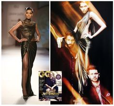 The Gaurav Gupta copper shimmer jersey Saree Gown has been featured in the festive fashion editorial in the November 2014 issue of GQ India  Styled by Vijendra Bhardwaj Shot by Errikos Andreou