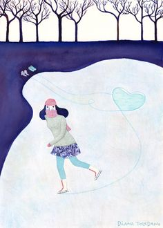 Are we close enough to winter to enjoy ice-skating drawings yet?  I think I am! Beautiful illustrations by Diana Toledano, on the blog today: http://www.artisticmoods.com/diana-toledano/