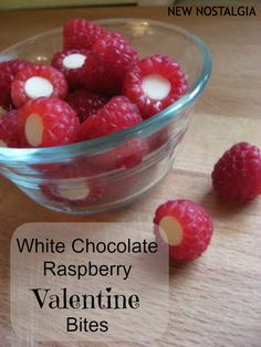 New Nostalgia: White Chocolate Raspberry Valentine Bites.  Would be fun as part of a Valentine breakfast or after school snack. #valentine #chocolate #raspberries