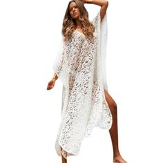 7ff0b98cfbe15 NEW! Sexy White Lace Long Beach Cover Up Beachwear