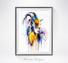 Goat 4 watercolor painting print goat art animal art by SlaviART