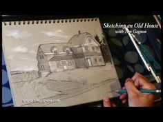 Sketching an Old House with Tim Gagnon - FREE full drawing lesson Garage House Plans, House Plans One Story, Craftsman House Plans, Drawing Lessons, Painting Lessons, Art Lessons, Drawing Ideas, Painting Videos, Online Painting