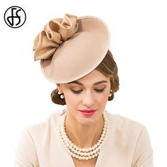 0fbb9a78 FS British Hats For Women 100% Wool Pillbox Hat Khaki Felt Fedora Vintage  Flower Wedding