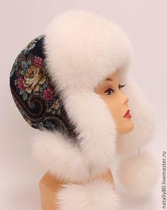 Купить Шапка меховая женская с П-Посадским платком - белый, однотонный, женские шапки
