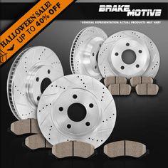 00-06 Lincoln LS Drilled Slotted Brake Rotors Ceramic Pads F+R Set
