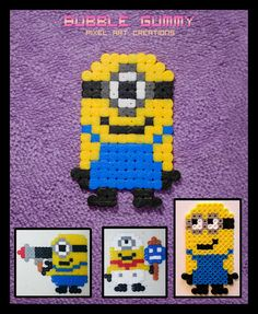 Minions hama beads by  Bubble Gummy pixel art