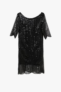 Black Loose Oversized Sequin Mini Dress