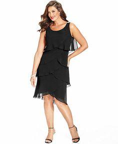 SL Fashions Plus Size Chiffon Tiered Dress - Plus Size Dresses - Plus Sizes - Macy's