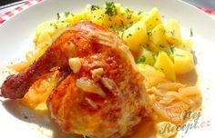 Pečené kuře na cibuli a česneku | NejRecept.cz Pasta E Fagioli Soup, Time To Eat, Greek Yogurt, Macaroni And Cheese, Healthy Snacks, Brunch, Food And Drink, Dishes, Chicken