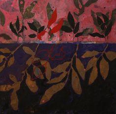 Effeuillage violet et rose 2011 40×40