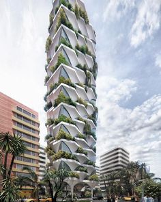Image 9 of 10 from gallery of ODD Architects Creates Sunflower-Inspired Residential Tower for Ecuador. Image Courtesy of odD+ Architects, Julia Bogdan Green Architecture, Chinese Architecture, Concept Architecture, Futuristic Architecture, Sustainable Architecture, Residential Architecture, Amazing Architecture, Building Architecture, Green Tower
