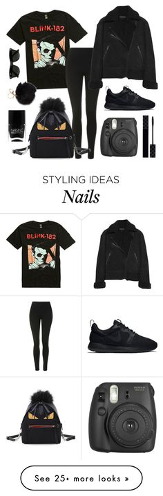 """Let The Devil Dress In Black"" by frerardy-xo on Polyvore featuring Topshop, rag & bone, NIKE, Gucci, Fendi, Nails Inc. and Ray-Ban"