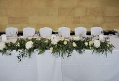 Gorgeous white and green top table flowers in a rustic style, make a stunning statement piece. Table Garland, Table Decorations, Wedding Top Table Flowers, Green Tops, Rustic Style, Beautiful Flowers, Bloom, Home Decor, Country Style