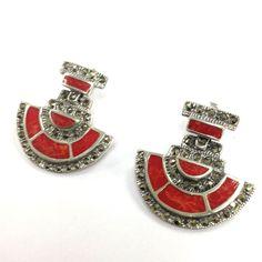 ART DECO RED CORAL MARCASITE EARRINGS 925 STERLING SILVER in Jewellery & Watches, Fine Jewellery, Fine Earrings | eBay