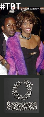 @ At the 2001 Oscar's, Whitney Houston wore a matching necklace and bracele designed by Daniel Swarovski Paris.  The set sold at auction for US $14,080.