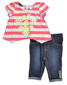 Dereon Infant Girls Gray/Coral Stripped Top & « Clothing Impulse