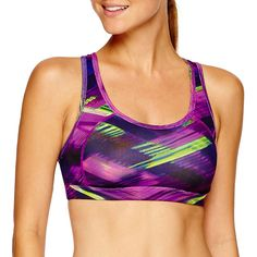 Xersion™ Removable Cup Sports Bra ($15) ❤ liked on Polyvore featuring activewear, sports bras, racer back sports bra, xersion, racerback sports bra, purple sports bra and xersion sportswear