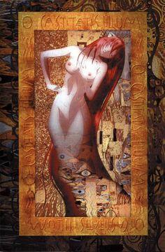 Serie: Elfen Lied Guionista e ilustrado por Lynn Okamoto,  Muchas de sus ilustraciones de este anime se inspiraron en el artista Gustav Klimt del cuadro Serpientes Acuaticas