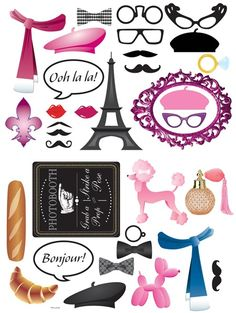 Paris Photo Props-fun hand held props to match your Paris Prom or Party