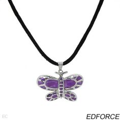 EDFORCE Majestic Brand New Necklace Made in Purple Enamel, Black Silk and Stainless steel. Total item weight 15.1g Length adjustable Edforce. $49.00. Stainless steel pendant. Designed with purple enamel. Save 25% Off!