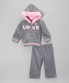 Look what I found on #zulily! Gray 'Love' Zip-Up Hoodie & Sweatpants - Infant, Toddler & Girls #zulilyfinds