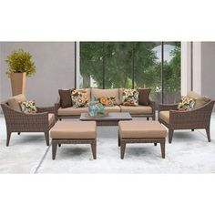 TK Classics Manhattan 8 Piece Deep Seating Group with Cushion Fabric: Wheat