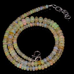 "58CRTS 3.5to6.5MM 18"" ETHIOPIAN OPAL RONDELLE BEAUTIFUL  BEADS NECKLACE OBI834 #OPALBEADSINDIA"