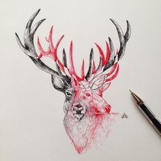 #ink #tattoo #drawing #illustration #sketch #deer #owl #alfredbasha