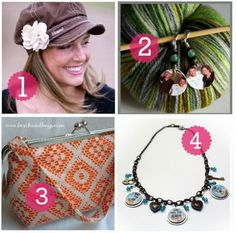 Crafty Mama :: Unique is so many ways! 'Blessed' hat, crochet/knit markers, lace and orange handbag, jewelry.