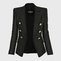 Balmain Black Cotton tweed six buttons Jacket.
