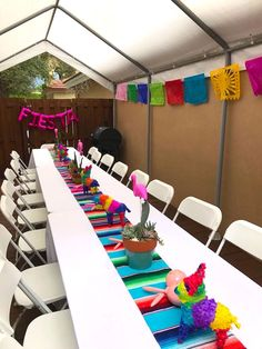 Guest table from a Cactus & Flamingo First Birthday Fiesta on Kara's Party Ideas Mexican Birthday Parties, Mexican Fiesta Party, Fiesta Theme Party, Taco Party, Birthday Party Themes, Theme Parties, Mexico Party Theme, Birthday Ideas, Mexican Party Decorations