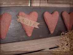 Daughternature Primitive Folk Art: Love Valentine Hearts, Rabbit w/ Spring Sampler, Wool Easter Tree Skirt...