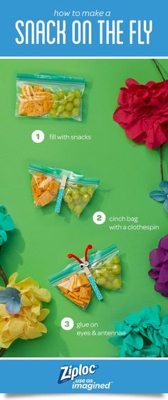 It's more than a bag, it's a snack on the fly! Make these easy and yummy craft ideas with Easy Open Tabs. They're a great way to make on-the-go snack time more fun for parents and kids! Simply fill the Ziploc® brand seal top bag with tasty snacks and fasten with a clothespin and decorate. These playful creatures are quick and easy to make, and perfect for little hands to open. Great in a lunchbox or as party favors. Fill with your kids' favorite snacks like popcorn, cheese crackers or…